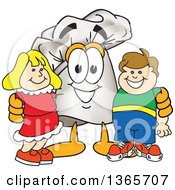 Clipart Of A Toque Chefs Hat Mascot Character Posing With Children Royalty Free Vector Illustration
