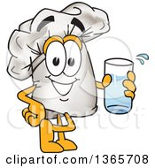 Clipart Of A Toque Chefs Hat Mascot Character Holding A Glass Of Water Royalty Free Vector Illustration by Toons4Biz