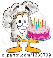 Toque Chefs Hat Mascot Character Holding A Birthday Cake