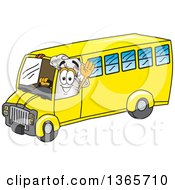 Toque Chefs Hat Mascot Character Waving And Driving A Bus