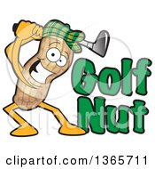 Clipart Of A Peanut Mascot Swinging A Club By Golf Nut Text Royalty Free Vector Illustration