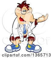 Clipart Of A Cartoon Chimpanzee Monkey Scientist Presenting Royalty Free Vector Illustration