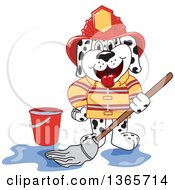 Clipart Of A Dalmatian Fireman Mascot Mopping Royalty Free Vector Illustration