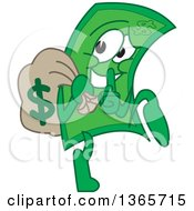 Clipart Of A Cartoon Dollar Bill Mascot Tip Toeing And Gesturing To Be Quite While Carrying A Money Bag Royalty Free Vector Illustration