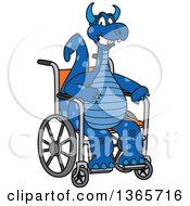 Blue Dragon School Mascot In A Wheelchair
