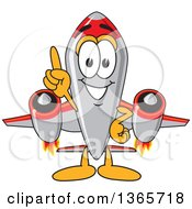 Clipart Of A Rocket Mascot Cartoon Character Holding Up A Finger Royalty Free Vector Illustration