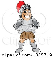 Clipart Of A Cartoon Happy Grinning Armored Knight Standing With Hands On His Hips Royalty Free Vector Illustration