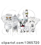 Clipart Of Scary Light Bulb Mascots Royalty Free Vector Illustration