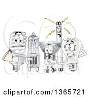 Clipart Of Injured Light Bulb Mascots Royalty Free Vector Illustration