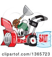 Clipart Of A Snow Blower Mascot Holding A Shovel By A Bag Of Salt Royalty Free Vector Illustration