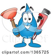 Water Drop Mascot Cartoon Character Holding A Plumbing Monkey Wrench And Plunger