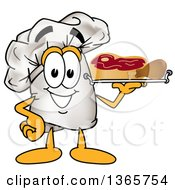 Clipart Of A Toque Chefs Hat Mascot Character Serving Beef And A Drumstick On A Tray Royalty Free Vector Illustration