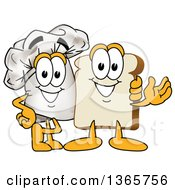 Clipart Of A Toque Chefs Hat Mascot Posing With A Bread Character Royalty Free Vector Illustration