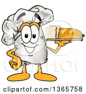 Toque Chefs Hat Mascot Character Serving Bread And Pasta On A Tray
