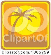 Yellow And Orange Silhouetted Palm Tree Sunset Square Icon With Rounded Corners