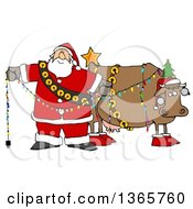 Clipart Of A Cartoon Festive Christmas Santa Claus Decorating A Cow Royalty Free Illustration