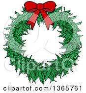 Clipart Of A Cartoon Marijuana Pot Leaf Weed Christmas Wreath With A Red Bow Royalty Free Vector Illustration by Dennis Cox