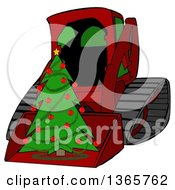 Poster, Art Print Of Cartoon Red Bobcat Skid Steer Loader With A Christmas Tree In The Bucket