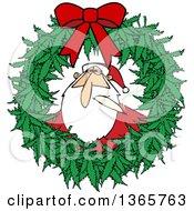 Clipart Of A Cartoon Stoned Christmas Santa Claus Smoking A Joint Inside A Marijuana Pot Leaf Weed Christmas Wreath With A Red Bow Royalty Free Vector Illustration by Dennis Cox