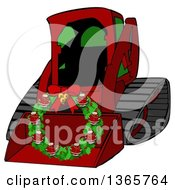 Clipart Of A Cartoon Red Bobcat Skid Steer Loader With A Santa Christmas Wreath In The Bucket Royalty Free Illustration