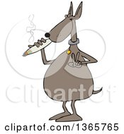 Clipart Of A Cartoon Stoned Dog Gesturing Peace And Smoking A Joint Royalty Free Vector Illustration