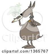 Clipart Of A Cartoon High Dog Gesturing Peace And Smoking A Joint Royalty Free Illustration by Dennis Cox
