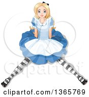 Clipart Of Alice In Wonderland Sitting On The Floor And Looking Up Royalty Free Vector Illustration