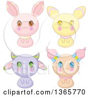 Cute Bunny Rabbit And Cat Creatures