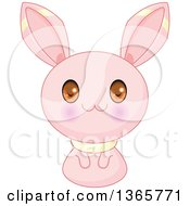 Clipart Of A Cute Pink Bunny Rabbit Creature Royalty Free Vector Illustration