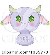 Cute Purple Horned Bunny Rabbit Creature