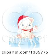 Clipart Of A Cute Baby Polar Bear Cub Wearing A Christmas Santa Hat And Waving On Ice Royalty Free Vector Illustration