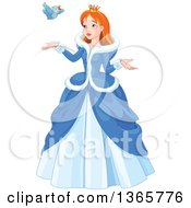 Clipart Of A Red Haired Blue Eyed Caucasian Princess In A Winter Dress Talking To A Bird Royalty Free Vector Illustration by Pushkin