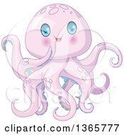 Clipart Of A Cute Purple Baby Octopus With Blue Eyes Royalty Free Vector Illustration by Pushkin