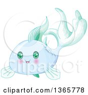 Clipart Of A Cute Blue Baby Fish With Green Eyes Royalty Free Vector Illustration by Pushkin