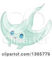 Clipart Of A Cute Green Baby Stingray With Blue Eyes Royalty Free Vector Illustration by Pushkin