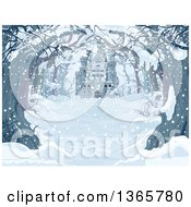 Clipart Of A Tree Lined Snow Covered Road With A View Of A Castle On A Winter Day Royalty Free Vector Illustration