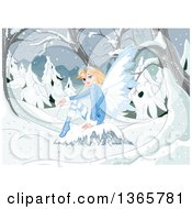 Beautiful Blond White Female Fairy Sitting On A Boulder In A Snowy Winter Forest