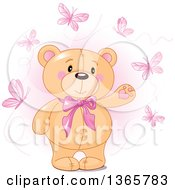 Clipart Of A Cute Teddy Bear Wearing A Bowtie And Presenting Surrounded By Butterflies Over Pink Royalty Free Vector Illustration