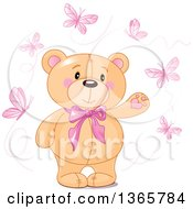 Clipart Of A Cute Teddy Bear Wearing A Bowtie And Presenting Surrounded By Pink Butterflies Royalty Free Vector Illustration by Pushkin