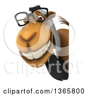 Clipart Of A 3d Bespectacled Arabian Business Camel Looking Around A Sign On A White Background Royalty Free Illustration