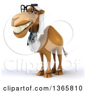 Clipart Of A 3d Bespectacled Arabian Doctor Camel On A White Background Royalty Free Illustration