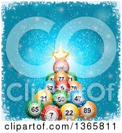 Clipart Of A 3d Bingo Or Lottery Ball Christmas Tree With A Star And Greeting Over Blue With Snow And A Grungy White Border Royalty Free Vector Illustration