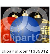 Clipart Of A 3d Blue Red And Black Christmas Baubles Over Flares Royalty Free Vector Illustration by elaineitalia