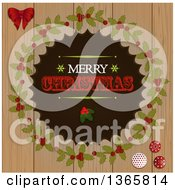 Clipart Of A Retro Merry Christmas Greeting With Holly In A Wreath Over Wood Royalty Free Vector Illustration by elaineitalia