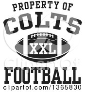 Black And White Property Of Colts Football XXL Design