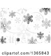 Clipart Of A Christmas Background Of Snowflakes And Swirls Royalty Free Vector Illustration by dero
