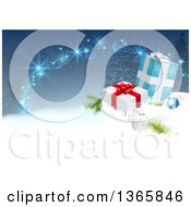 Clipart Of A Christmas Background With 3d Baubles And Gift Boxes In The Snow Over Blue With Trees And Magic Royalty Free Vector Illustration