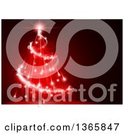 Clipart Of A Christmas Background Of A Magical Tree Made Of Red Lights And Flares Royalty Free Vector Illustration