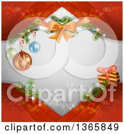Clipart Of A Christmas Background Of A Bow Baubles And A Gift On Red Waves Over Gray With Flares Royalty Free Vector Illustration