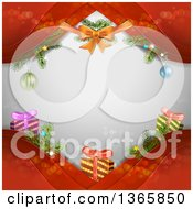 Clipart Of A Christmas Background Of A Bow Baubles And Gifts On Red Waves Over Gray With Flares Royalty Free Vector Illustration